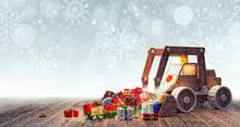Excavator Toy With Christmas Presents 3D Rendering