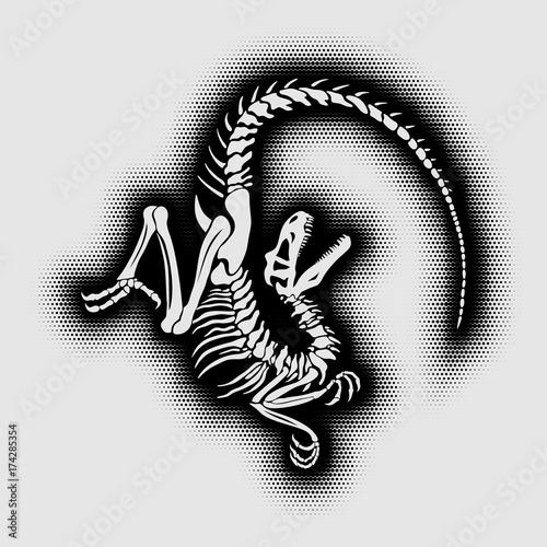 Photo  Halftone velociraptor skeleton