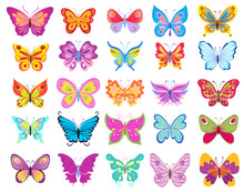 Set Of Cartoon Butterflies. Ve...