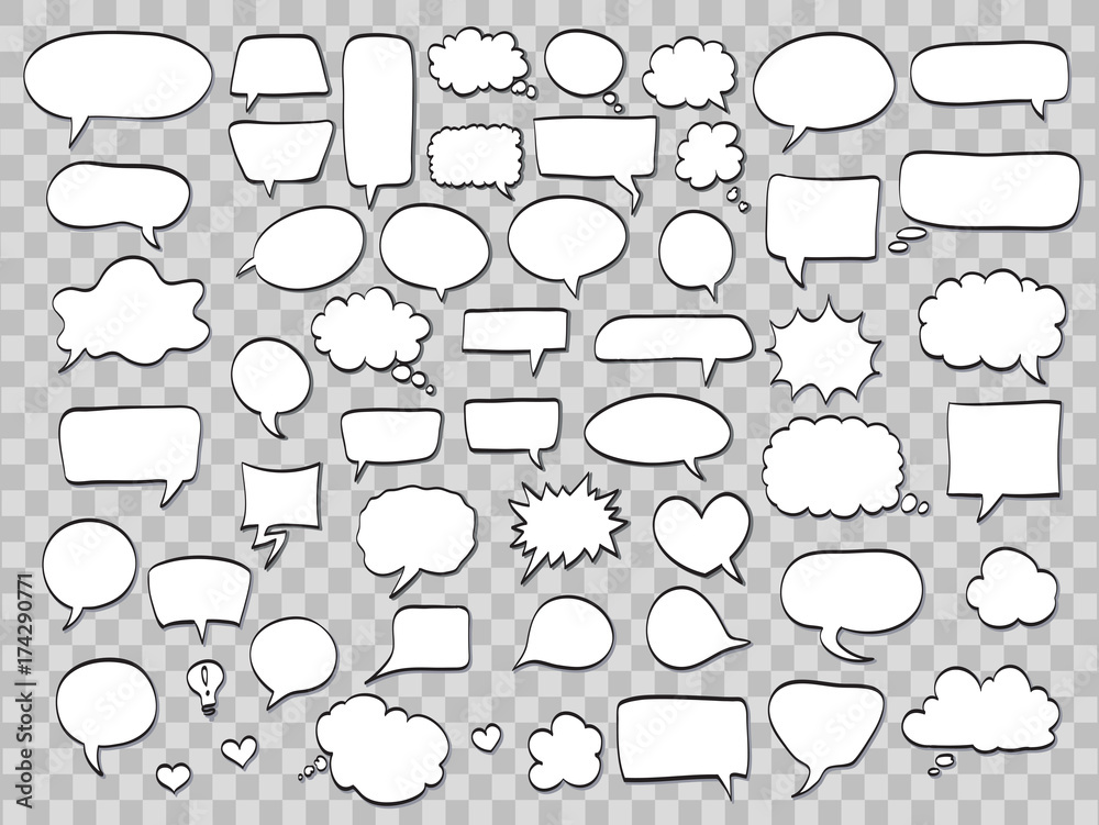 Fototapety, obrazy: set of comic speech bubbles on transparent background. vector illustration