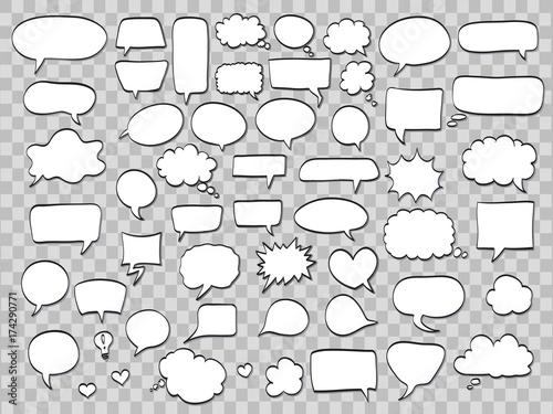 Fotografía  set of comic speech bubbles on transparent background
