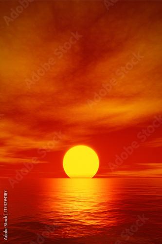 Garden Poster Brown big beautiful red sunset over the ocean