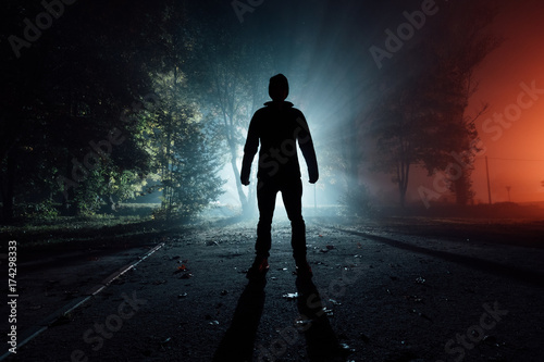 Photo  silhouette of an unknown person in a park in the rays of light in an autumn foggy night