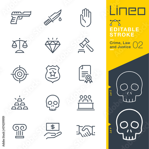 Lineo Editable Stroke - Crime, Law and Justice line icons Vector Icons - Adjust Canvas Print