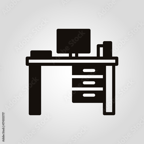 Valokuvatapetti Worktable desk or writing table isolated flat vector icon