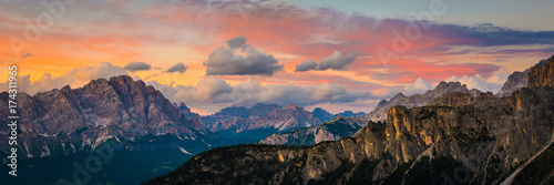 Fototapeten Alpen sunset at the Dolomites Alps.Italy