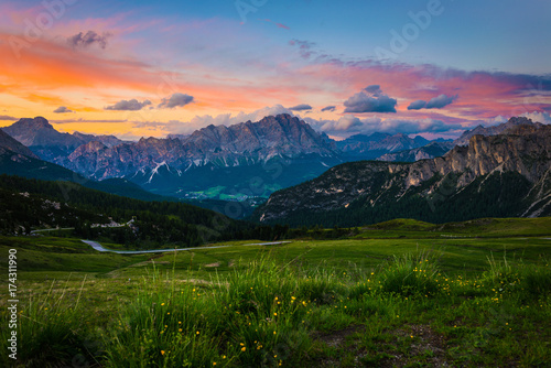 Fotobehang Alpen sunset at the Dolomites Alps.Italy