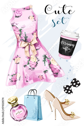 Poster Doodle Stylish hand drawn clothing and accessories set with dress, shoes, shopping bag, perfume, coffee cup and bow. Beautiful outfit. Dress with flower print. Sketch.