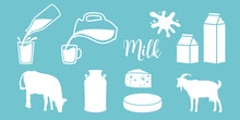 Cow Silhouette, Diary, Cheese, Goat, Milk Can, Bottle, Jar On Blue Background. Flat. Concept Idea For Diary, Shop