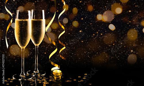 Slika na platnu New year celebration with champagne