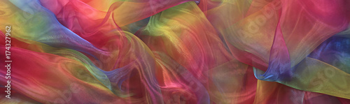 Fotomural Beautiful Cascading Rainbow Chiffon Banner Background - Wide shimmering rainbow