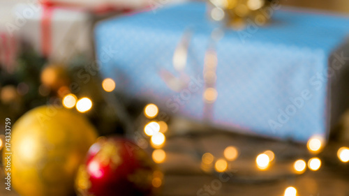 Beautiful Christmas card with beautiful bokeh, Christmas gifts and ...