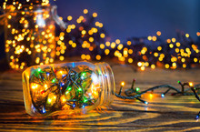Christmas Lights In A Jars, Concept Of Christmas Time, Selective Focus.