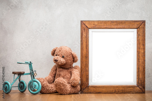 Retro oak wooden photo frame blank and plush Teddy Bear with toy ...