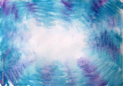 Zdjęcie XXL rama akwarela wzór niebieski fioletowy
