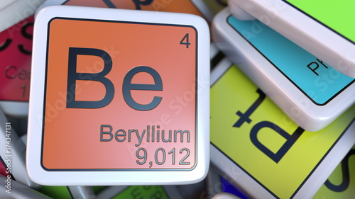 Beryllium block on the pile of periodic table of the chemical elements blocks Canvas Print
