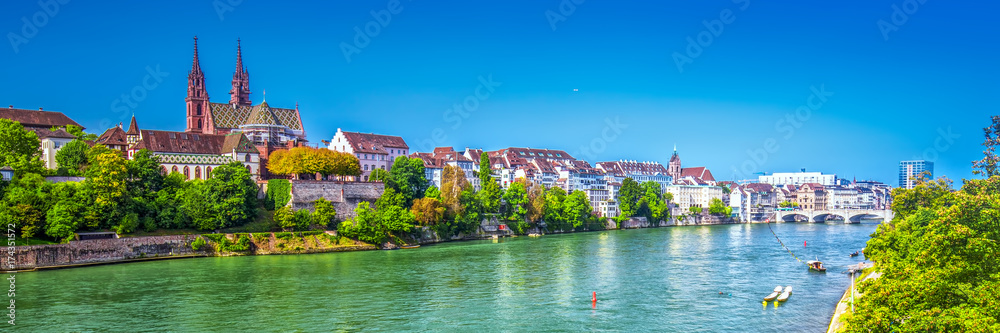 Fototapety, obrazy: Old city center of Basel with Munster cathedral and the Rhine river, Switzerland