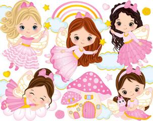 Vector Set with Cute Little Fairies