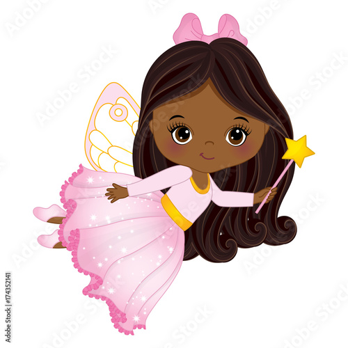 Fototapeta Wektor Cute Little African American Fairy z Magic Wand