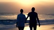 Couple walking and holding hands on beach during sunset, super slow motion 120fps