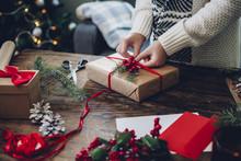 Woman Makes A Christmas Present