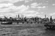 View of Manhattan from Brooklyn. Black and white.