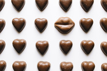 Close-up Of Lips And Heart Sha...