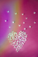 Heart, Flying Butterflies And Rainbow Reflection