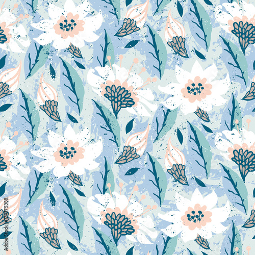 Fotografie, Obraz  Vector hand painted floral pattern