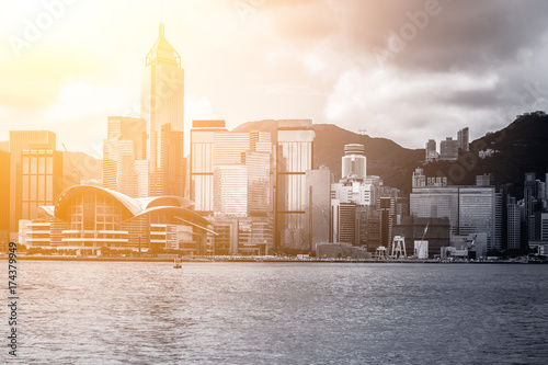 Photo  hong kong city view in B&W color with sunlight