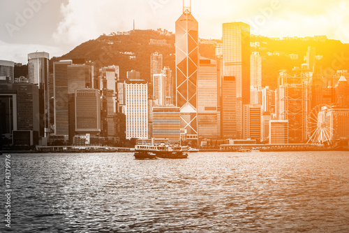 hong kong city view in B&W color with sunlight Wallpaper Mural