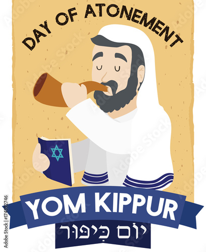 Photo Jewish Senior Man Blowing Shofar and Praying for Yom Kippur, Vector Illustration