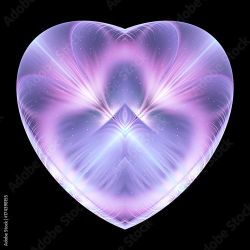 Abstract crystal violet heart with glowing sparks on black background Canvas Print