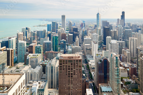 Obraz na dibondzie (fotoboard) Widok z lotu ptaka Chicagowskiego śródmieścia od 2017
