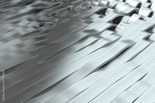 Zdjęcie XXL Abstrakcjonistyczny 3D rendering metalowe sinus fala