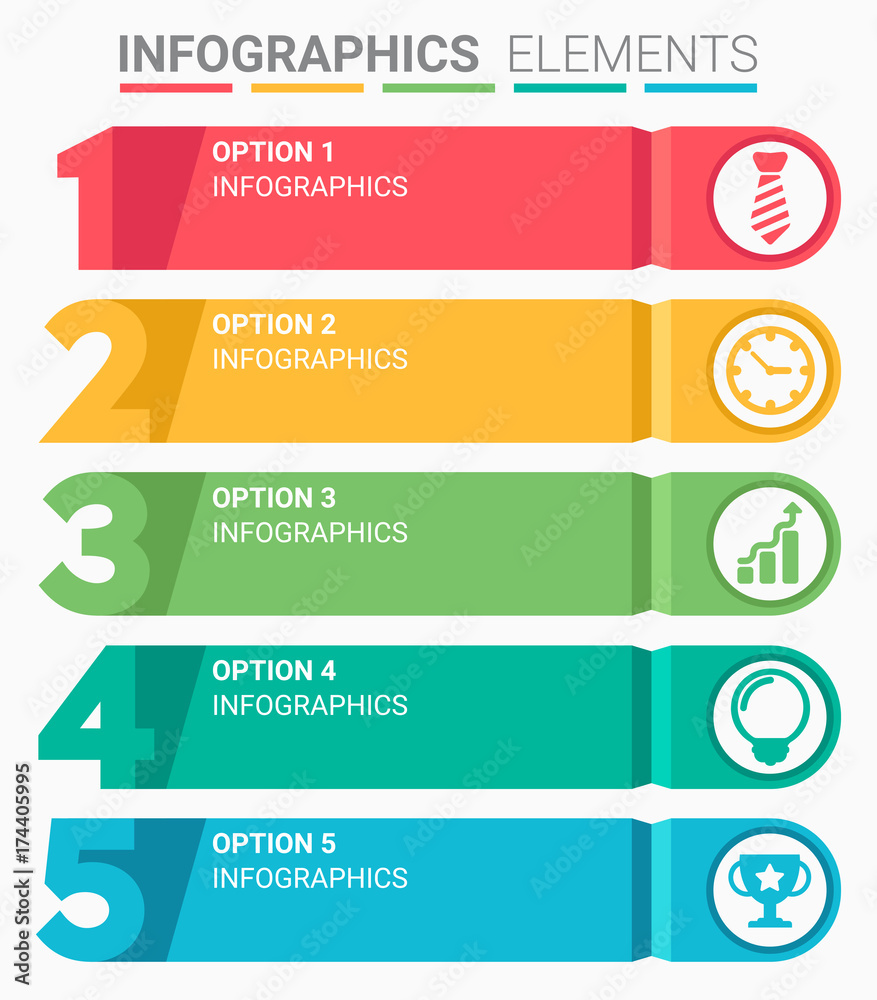 Fototapeta INFOGRAPHICS element abstract design the number top five list template