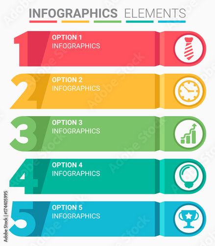 Photo  INFOGRAPHICS element abstract design the number top five list template