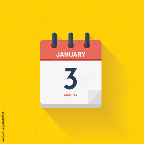 Day calendar with date January 3, 2017. Vector illustration Poster Mural XXL