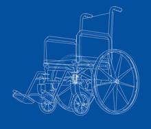 Sketch Of Wheelchair. Vector