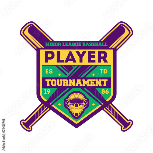 Photo  Baseball player tournament vintage label
