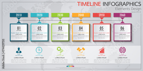 Αφίσα  Infographic business horizontal timeline process chart template