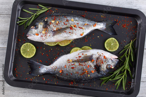 Fotografie, Obraz  Fresh raw dorado or sea bream