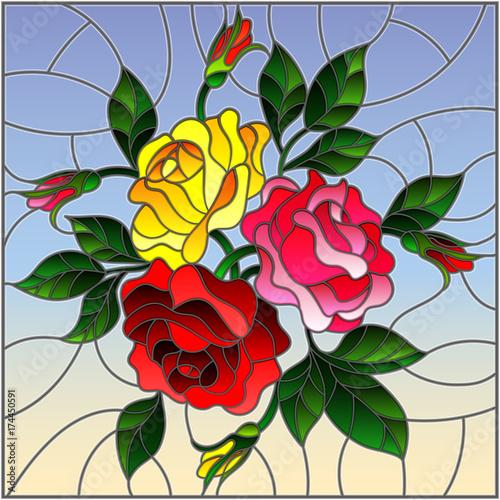 ilustracja-w-stylu-witrazu-z-kwiatow-pakow-i-lisci-roz-na