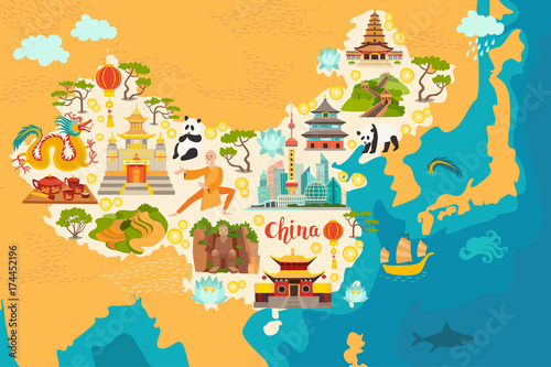 Fototapeta China abstract map, hand drawn vector illustration