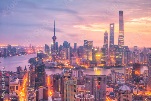 View of downtown Shanghai skyline at twilight Wallpaper Mural