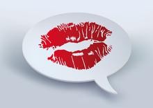 Baiser - Rouge à Lèvre - Kiss - Amour - Déclaration - Bulle - Amoureux - Message