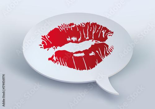 Baiser Rouge à Lèvre Kiss Amour Déclaration Bulle