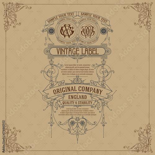 Fototapeta Old vintage card with floral ornament - vector obraz na płótnie