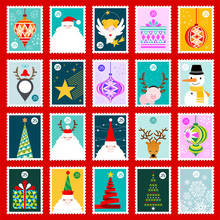 Christmas Postage Stamps Vecto...