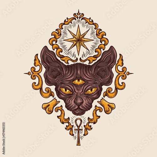 Photo Black sphinx cat head with mysterious three eyes look, egyptian ankh crux and sirius star drawn vector illustration
